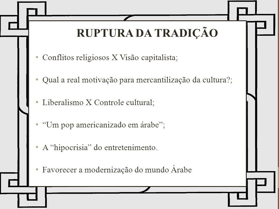 RUPTURA DA TRADIÇÃO Conflitos religiosos X Visão capitalista; Qual a real motivação para mercantilização da cultura?; Liberalismo X Controle cultural; Um pop americanizado em árabe; A hipocrisia do entretenimento.