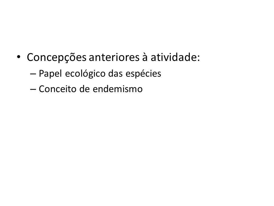 Concepções anteriores à atividade: – Papel ecológico das espécies – Conceito de endemismo