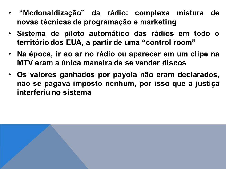 Mcdonaldização da rádio: complexa mistura de novas técnicas de programação e marketing Sistema de piloto automático das rádios em todo o território do