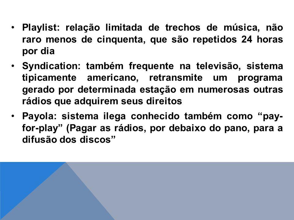 Playlist: relação limitada de trechos de música, não raro menos de cinquenta, que são repetidos 24 horas por dia Syndication: também frequente na tele