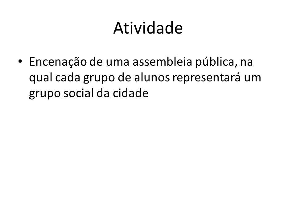Atividade Encenação de uma assembleia pública, na qual cada grupo de alunos representará um grupo social da cidade