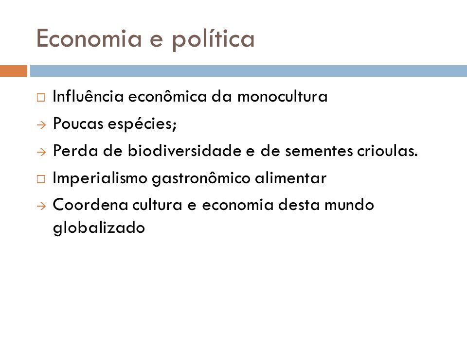 Economia e política Influência econômica da monocultura Poucas espécies; Perda de biodiversidade e de sementes crioulas. Imperialismo gastronômico ali