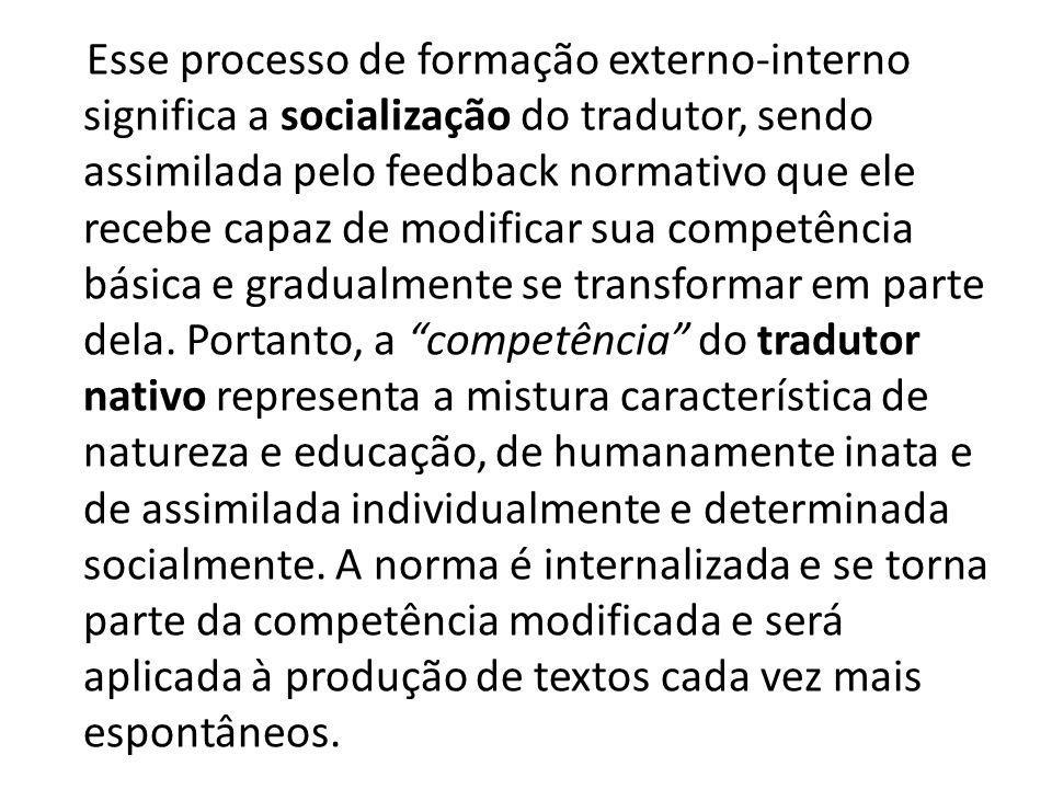 Esse processo de formação externo-interno significa a socialização do tradutor, sendo assimilada pelo feedback normativo que ele recebe capaz de modif