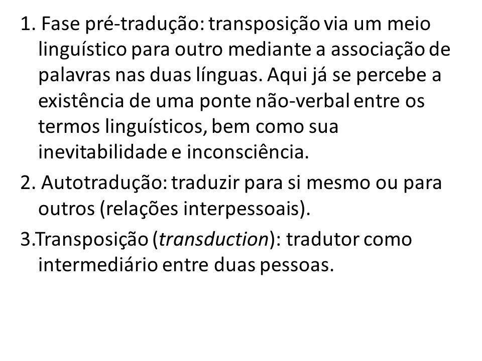 1. Fase pré-tradução: transposição via um meio linguístico para outro mediante a associação de palavras nas duas línguas. Aqui já se percebe a existên