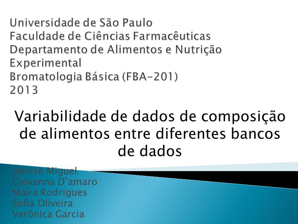 Denise Miguel Giovanna Damaro Maíra Rodrigues Sofia Oliveira Verônica Garcia Variabilidade de dados de composição de alimentos entre diferentes bancos de dados