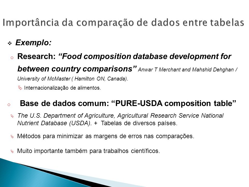 Exemplo: o Research: Food composition database development for between country comparisons Anwar T Merchant and Mahshid Dehghan / University of McMaster ( Hamilton ON, Canada).