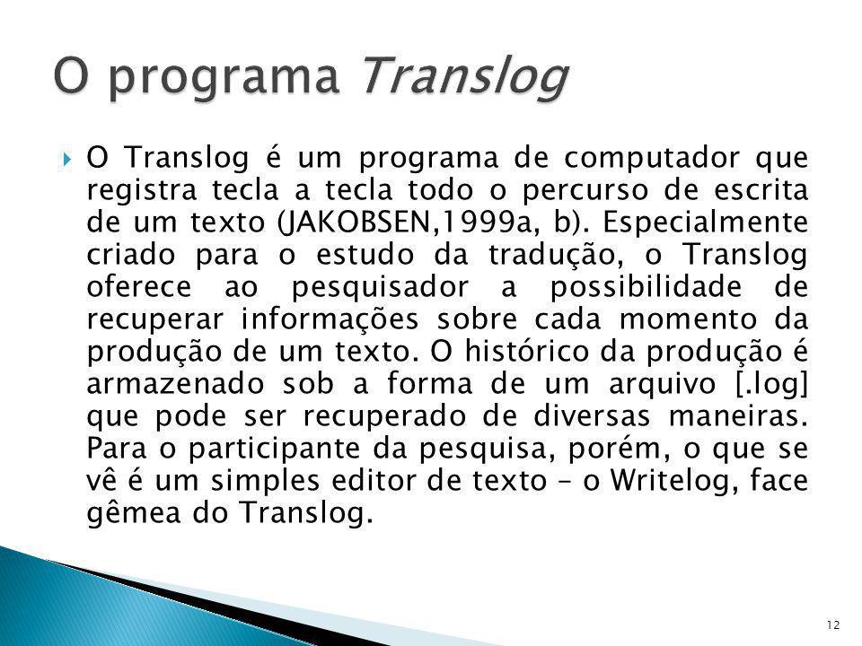 O Translog é um programa de computador que registra tecla a tecla todo o percurso de escrita de um texto (JAKOBSEN,1999a, b). Especialmente criado par