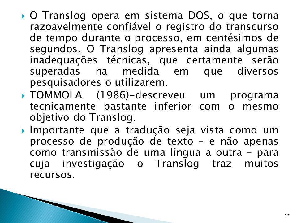 O Translog opera em sistema DOS, o que torna razoavelmente confiável o registro do transcurso de tempo durante o processo, em centésimos de segundos.