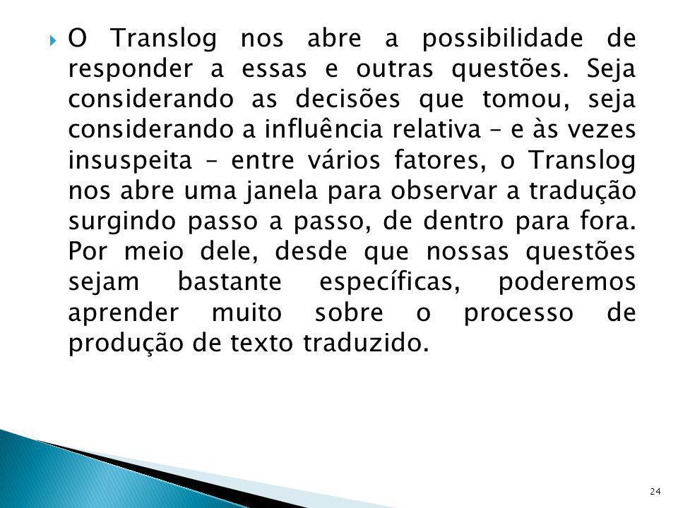O Translog nos abre a possibilidade de responder a essas e outras questões. Seja considerando as decisões que tomou, seja considerando a influência re