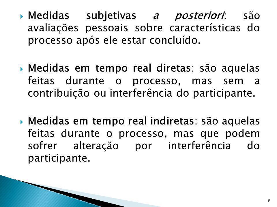 Medidas subjetivas a posteriori: são avaliações pessoais sobre características do processo após ele estar concluído. Medidas em tempo real diretas: sã