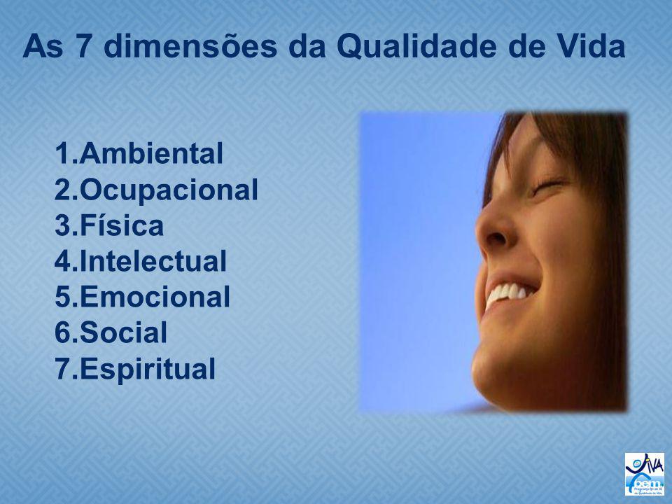 As 7 dimensões da Qualidade de Vida 1.Ambiental 2.Ocupacional 3.Física 4.Intelectual 5.Emocional 6.Social 7.Espiritual