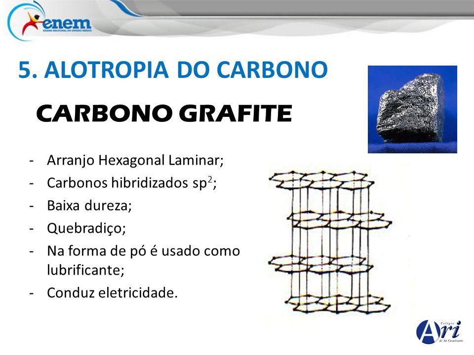 5. ALOTROPIA DO CARBONO CARBONO GRAFITE -Arranjo Hexagonal Laminar; -Carbonos hibridizados sp 2 ; -Baixa dureza; -Quebradiço; -Na forma de pó é usado