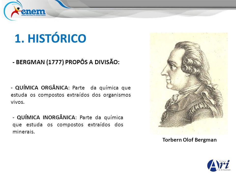 1. HISTÓRICO - BERGMAN (1777) PROPÔS A DIVISÃO: Torbern Olof Bergman - QUÍMICA ORGÂNICA: Parte da química que estuda os compostos extraídos dos organi