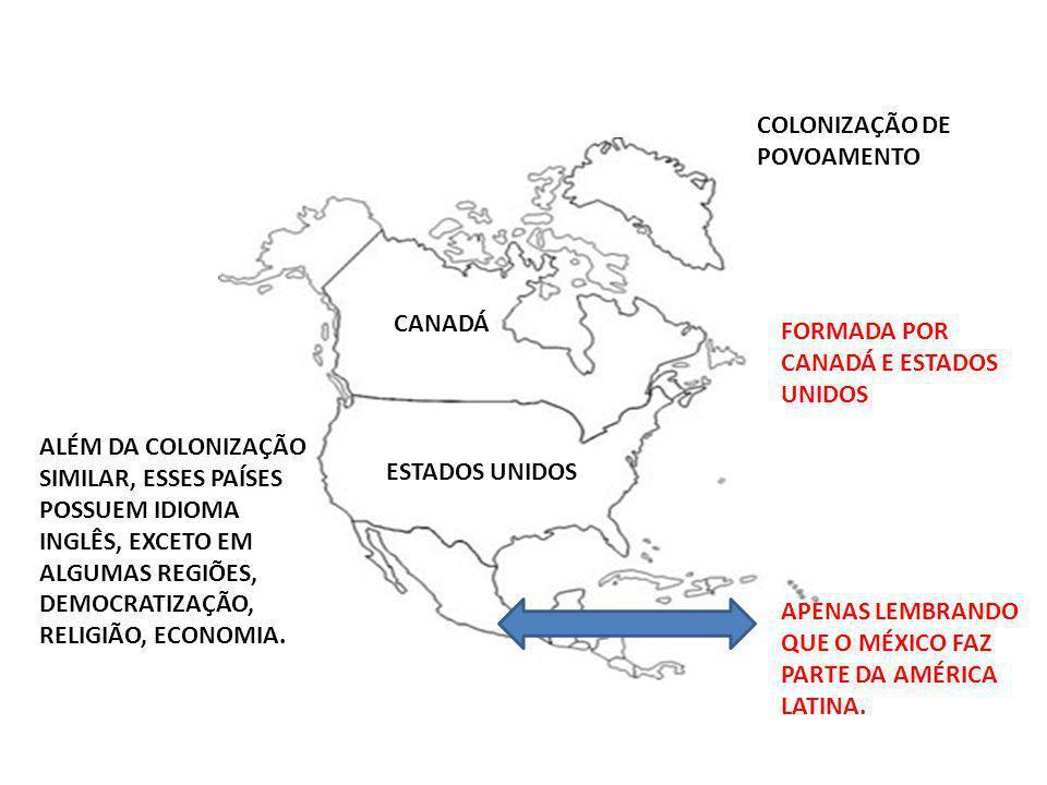 COLONIZAÇÃO DE POVOAMENTO FORMADA POR CANADÁ E ESTADOS UNIDOS CANADÁ ESTADOS UNIDOS ALÉM DA COLONIZAÇÃO SIMILAR, ESSES PAÍSES POSSUEM IDIOMA INGLÊS, E