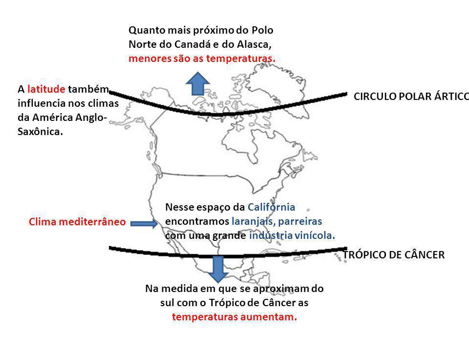 CIRCULO POLAR ÁRTICO TRÓPICO DE CÂNCER A latitude também influencia nos climas da América Anglo- Saxônica. Quanto mais próximo do Polo Norte do Canadá