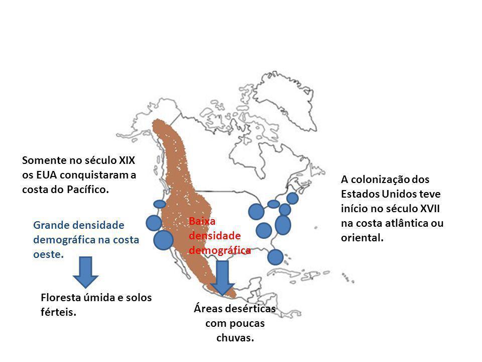 A colonização dos Estados Unidos teve início no século XVII na costa atlântica ou oriental. Somente no século XIX os EUA conquistaram a costa do Pacíf