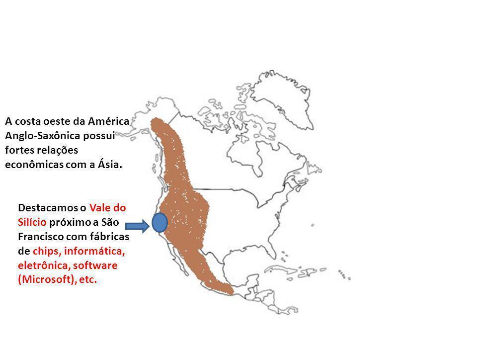 A costa oeste da América Anglo-Saxônica possui fortes relações econômicas com a Ásia. Destacamos o Vale do Silício próximo a São Francisco com fábrica