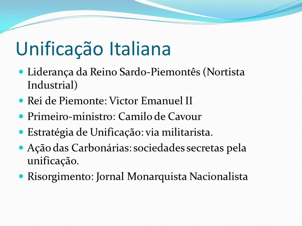 Unificação Italiana Liderança da Reino Sardo-Piemontês (Nortista Industrial) Rei de Piemonte: Victor Emanuel II Primeiro-ministro: Camilo de Cavour Es