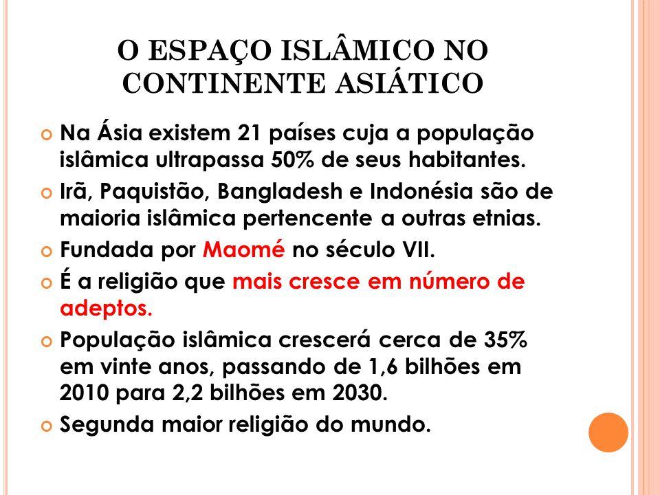 O ESPAÇO ISLÂMICO NO CONTINENTE ASIÁTICO Na Ásia existem 21 países cuja a população islâmica ultrapassa 50% de seus habitantes. Irã, Paquistão, Bangla