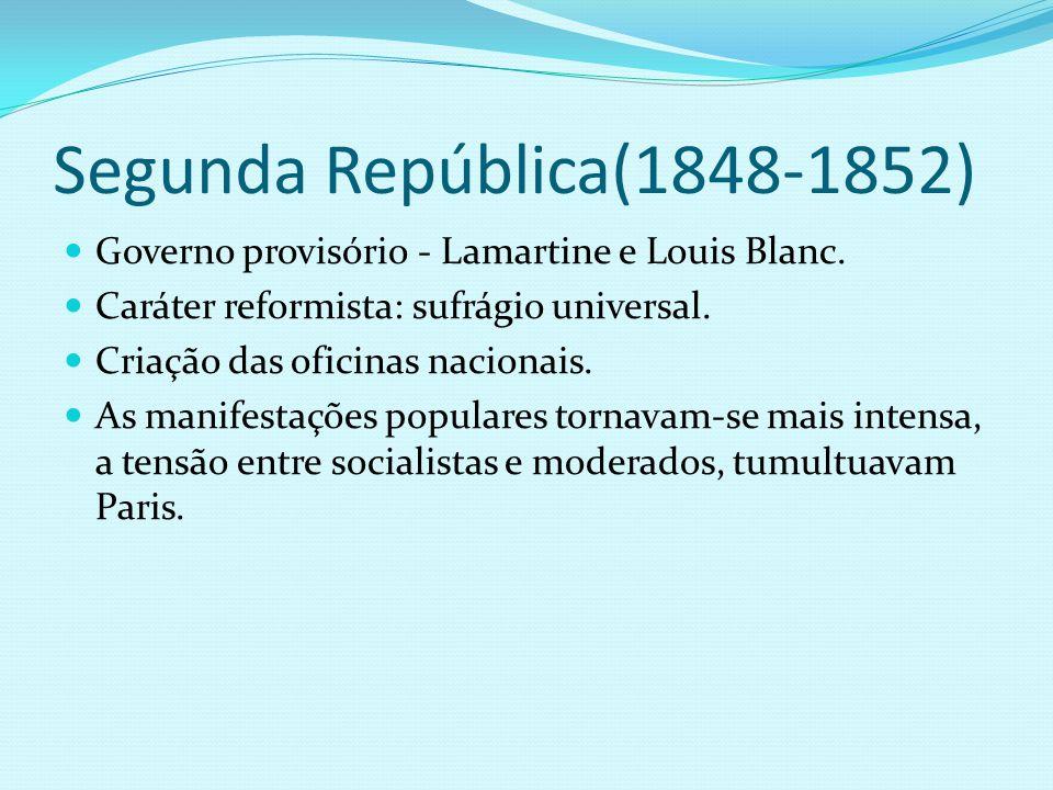 Segunda República(1848-1852) Governo provisório - Lamartine e Louis Blanc. Caráter reformista: sufrágio universal. Criação das oficinas nacionais. As