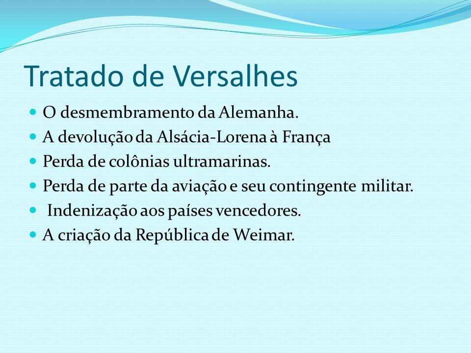 Tratado de Versalhes O desmembramento da Alemanha. A devolução da Alsácia-Lorena à França Perda de colônias ultramarinas. Perda de parte da aviação e