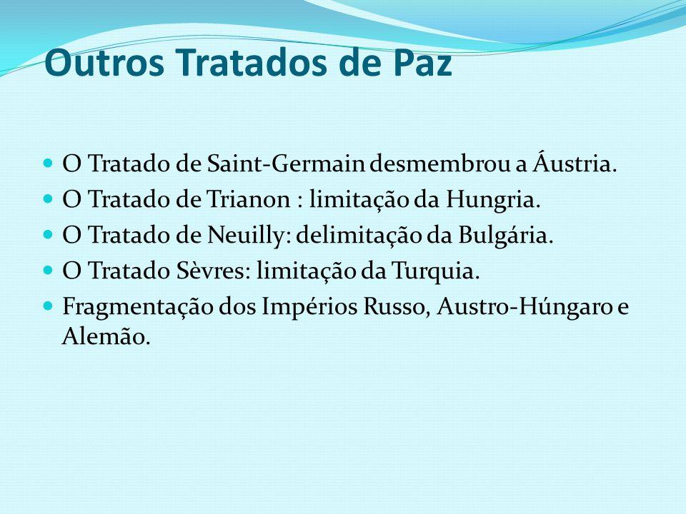 Outros Tratados de Paz O Tratado de Saint-Germain desmembrou a Áustria. O Tratado de Trianon : limitação da Hungria. O Tratado de Neuilly: delimitação