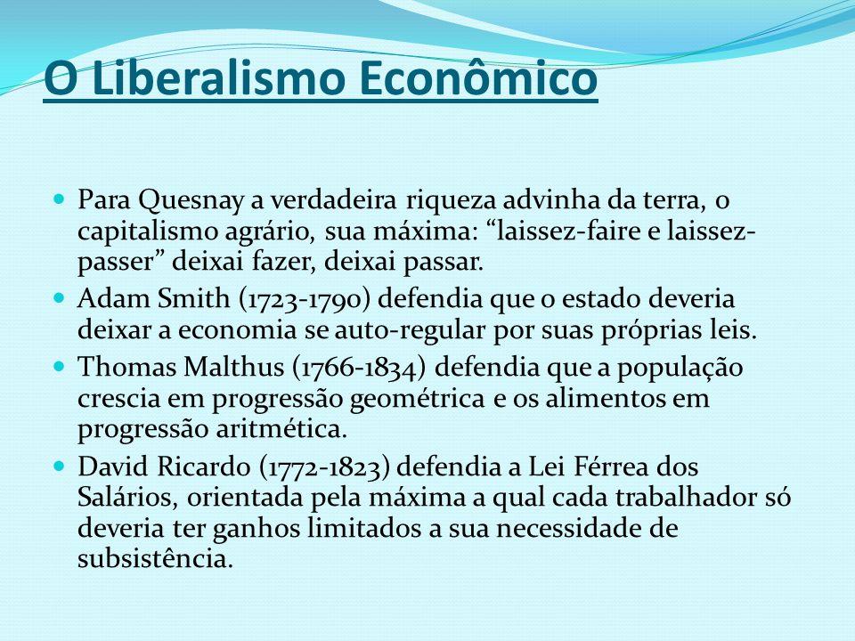 O Liberalismo Econômico Para Quesnay a verdadeira riqueza advinha da terra, o capitalismo agrário, sua máxima: laissez-faire e laissez- passer deixai