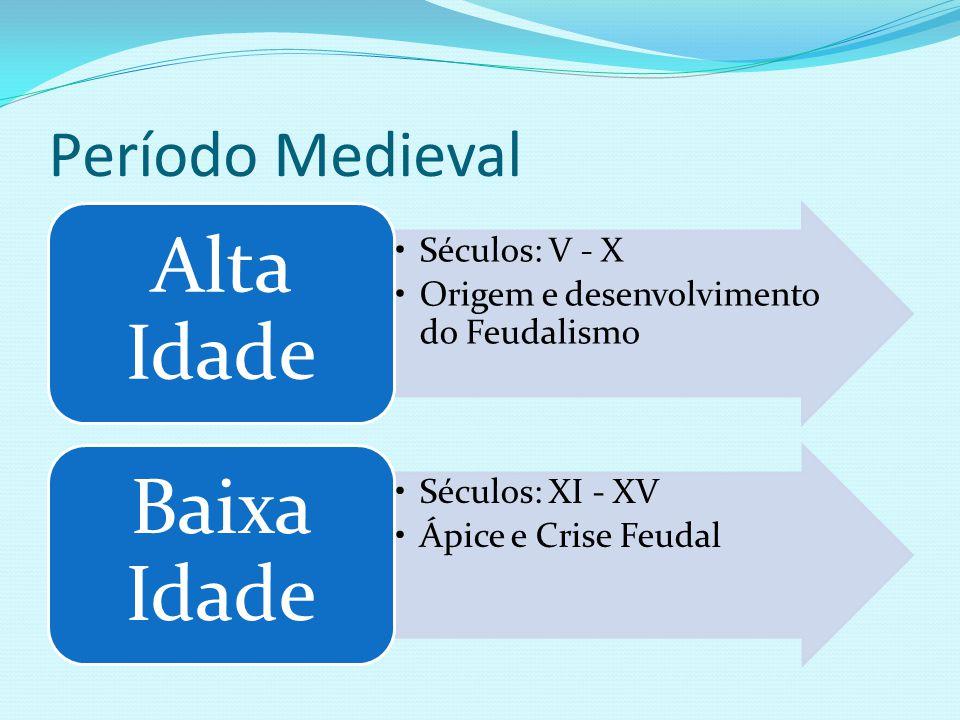 Período Medieval Séculos: V - X Origem e desenvolvimento do Feudalismo Alta Idade Séculos: XI - XV Ápice e Crise Feudal Baixa Idade