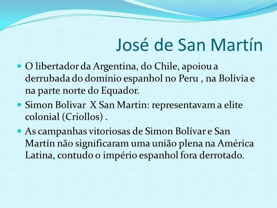 José de San Martín O libertador da Argentina, do Chile, apoiou a derrubada do domínio espanhol no Peru, na Bolívia e na parte norte do Equador. Simon