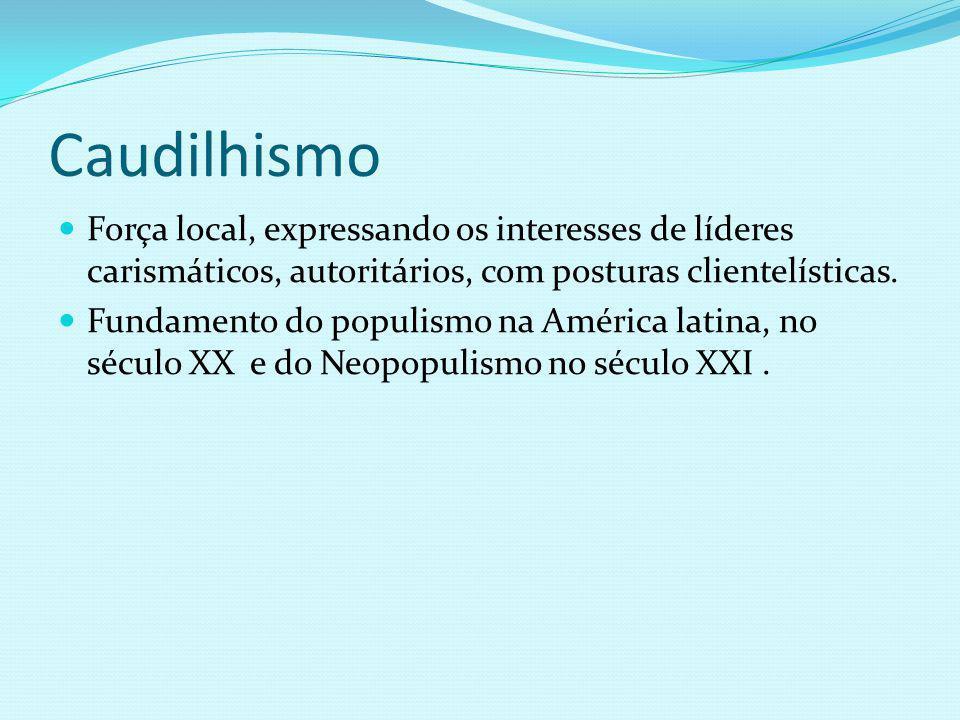 Caudilhismo Força local, expressando os interesses de líderes carismáticos, autoritários, com posturas clientelísticas. Fundamento do populismo na Amé