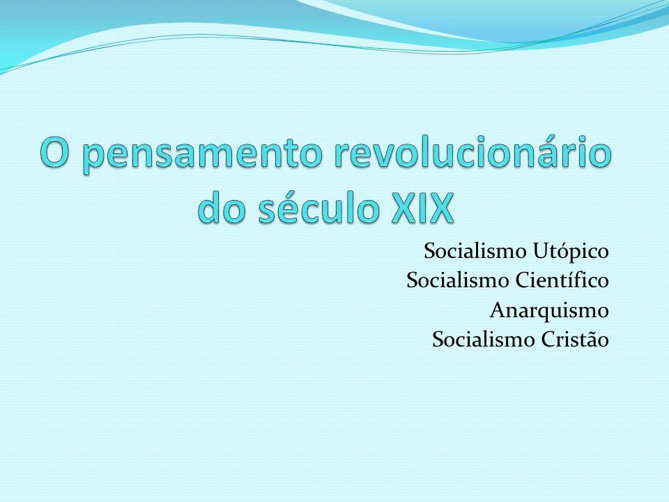 Socialismo Utópico Socialismo Científico Anarquismo Socialismo Cristão