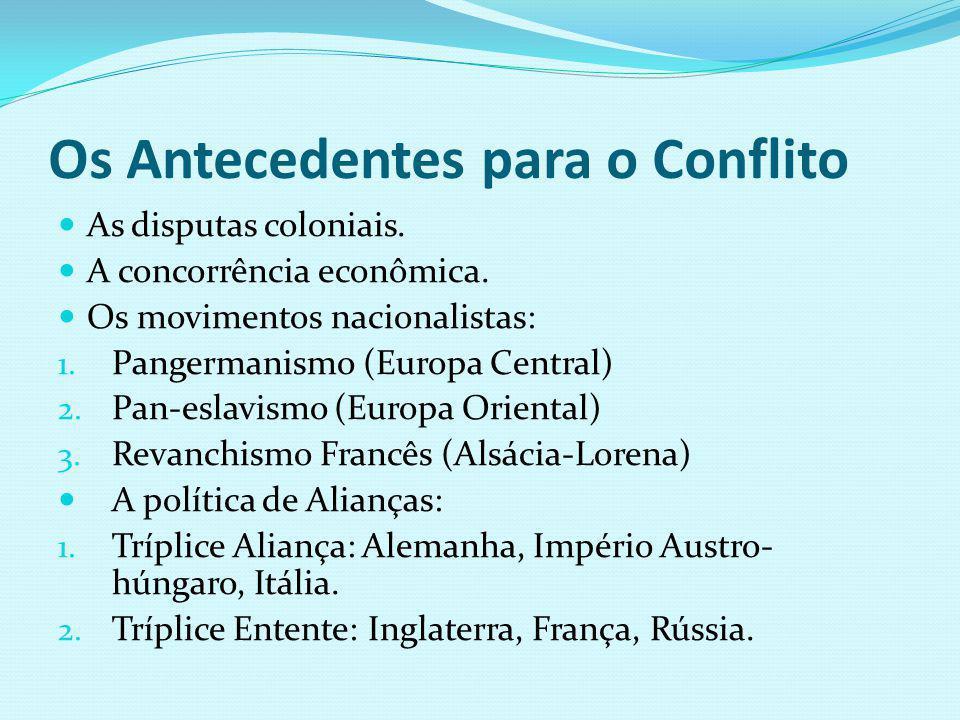 Os Antecedentes para o Conflito As disputas coloniais. A concorrência econômica. Os movimentos nacionalistas: 1. Pangermanismo (Europa Central) 2. Pan