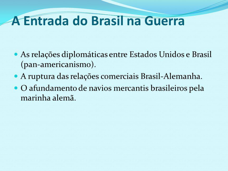 A Entrada do Brasil na Guerra As relações diplomáticas entre Estados Unidos e Brasil (pan-americanismo). A ruptura das relações comerciais Brasil-Alem