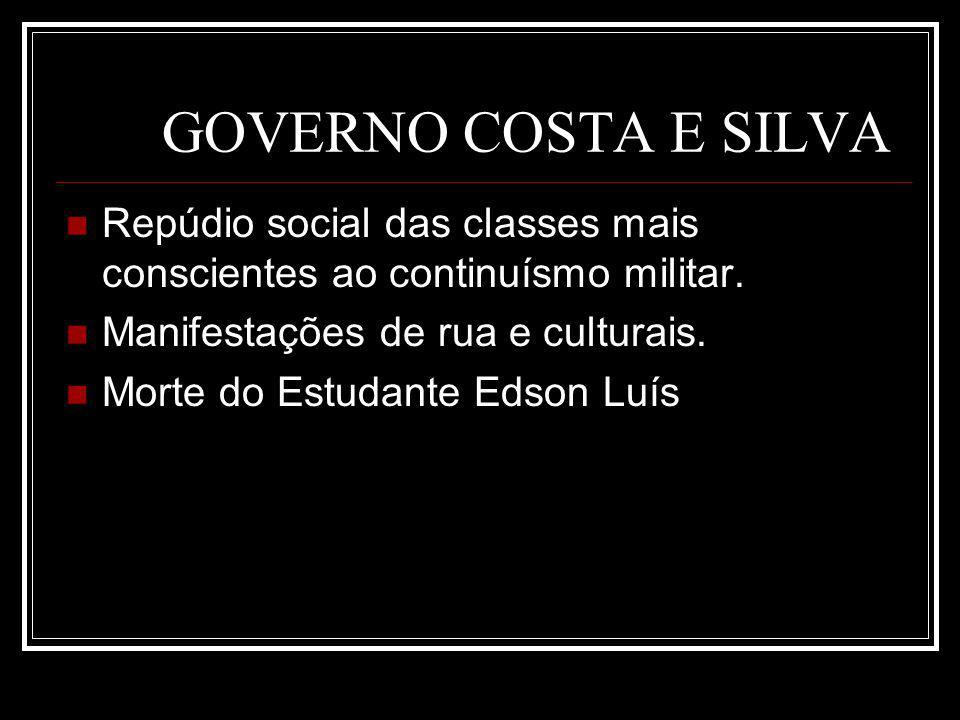 GOVERNO COSTA E SILVA Repúdio social das classes mais conscientes ao continuísmo militar. Manifestações de rua e culturais. Morte do Estudante Edson L