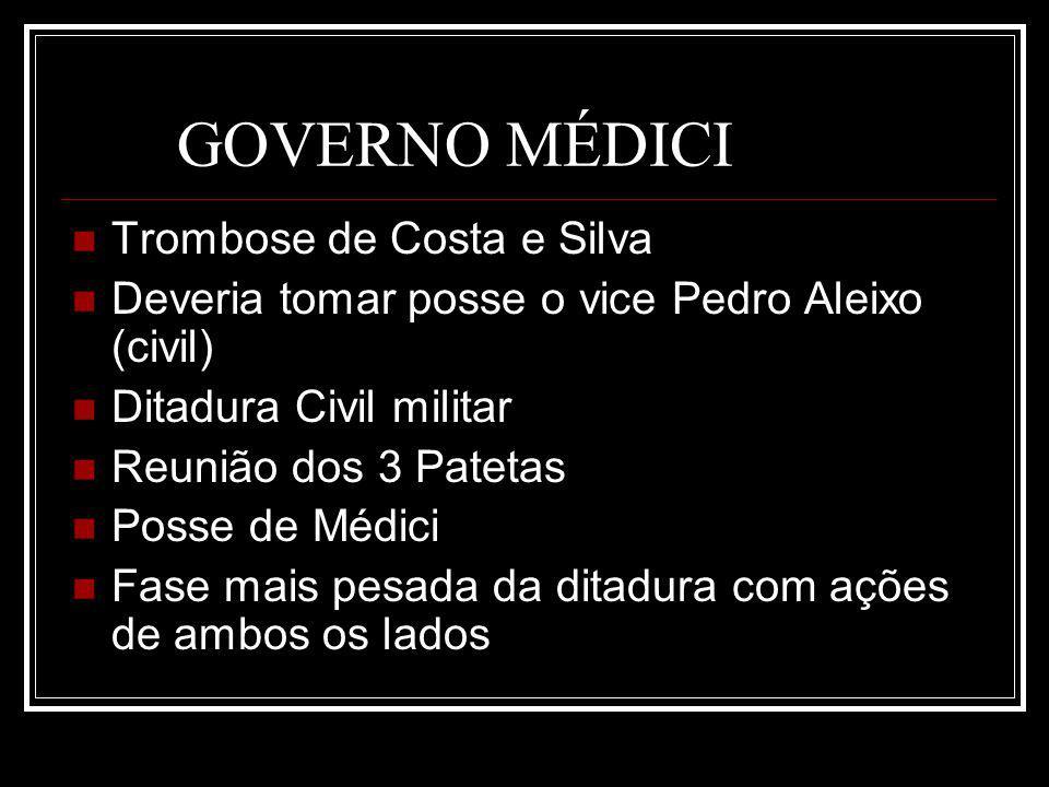 GOVERNO MÉDICI Trombose de Costa e Silva Deveria tomar posse o vice Pedro Aleixo (civil) Ditadura Civil militar Reunião dos 3 Patetas Posse de Médici