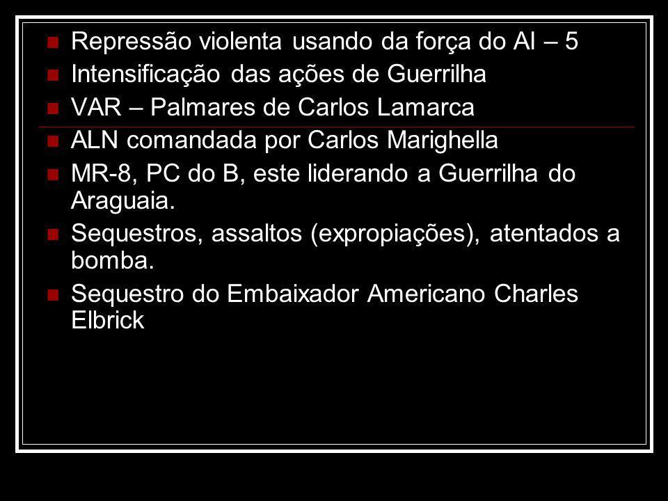 Repressão violenta usando da força do AI – 5 Intensificação das ações de Guerrilha VAR – Palmares de Carlos Lamarca ALN comandada por Carlos Marighell