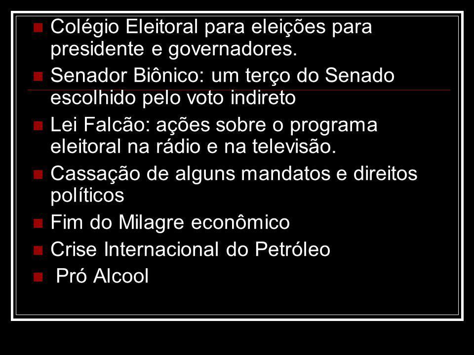 Colégio Eleitoral para eleições para presidente e governadores. Senador Biônico: um terço do Senado escolhido pelo voto indireto Lei Falcão: ações sob