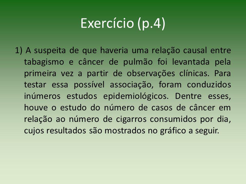 Exercício (p.4) 1) A suspeita de que haveria uma relação causal entre tabagismo e câncer de pulmão foi levantada pela primeira vez a partir de observa