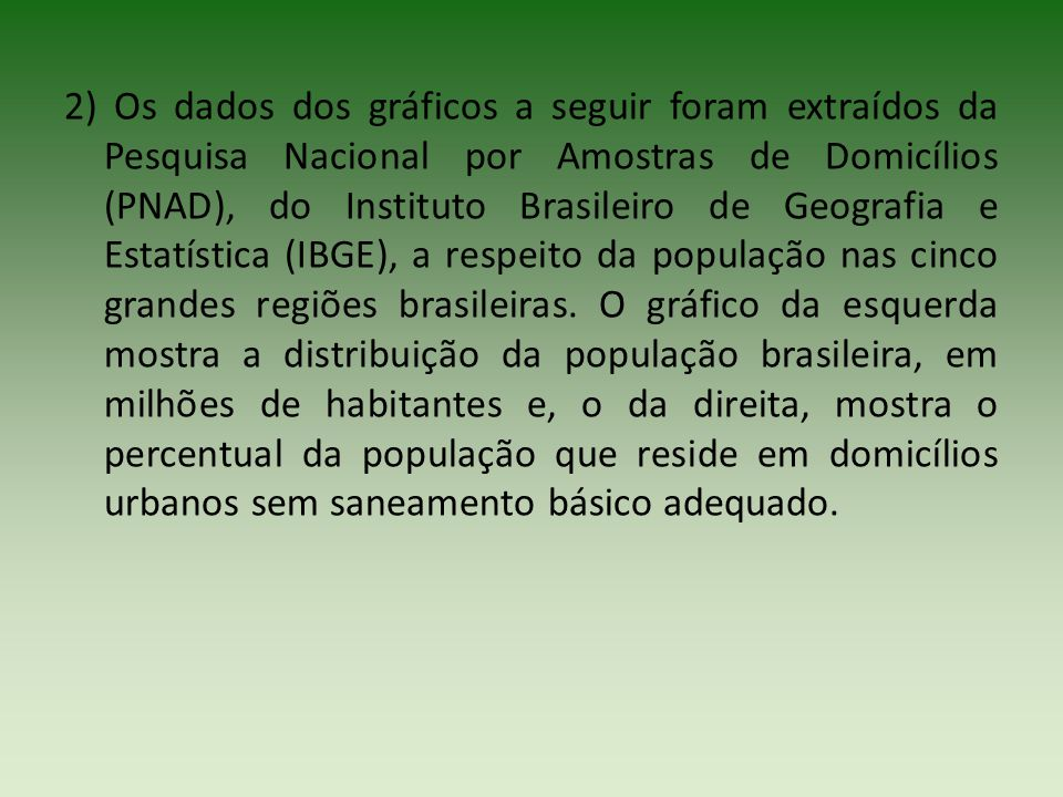 2) Os dados dos gráficos a seguir foram extraídos da Pesquisa Nacional por Amostras de Domicílios (PNAD), do Instituto Brasileiro de Geografia e Estat