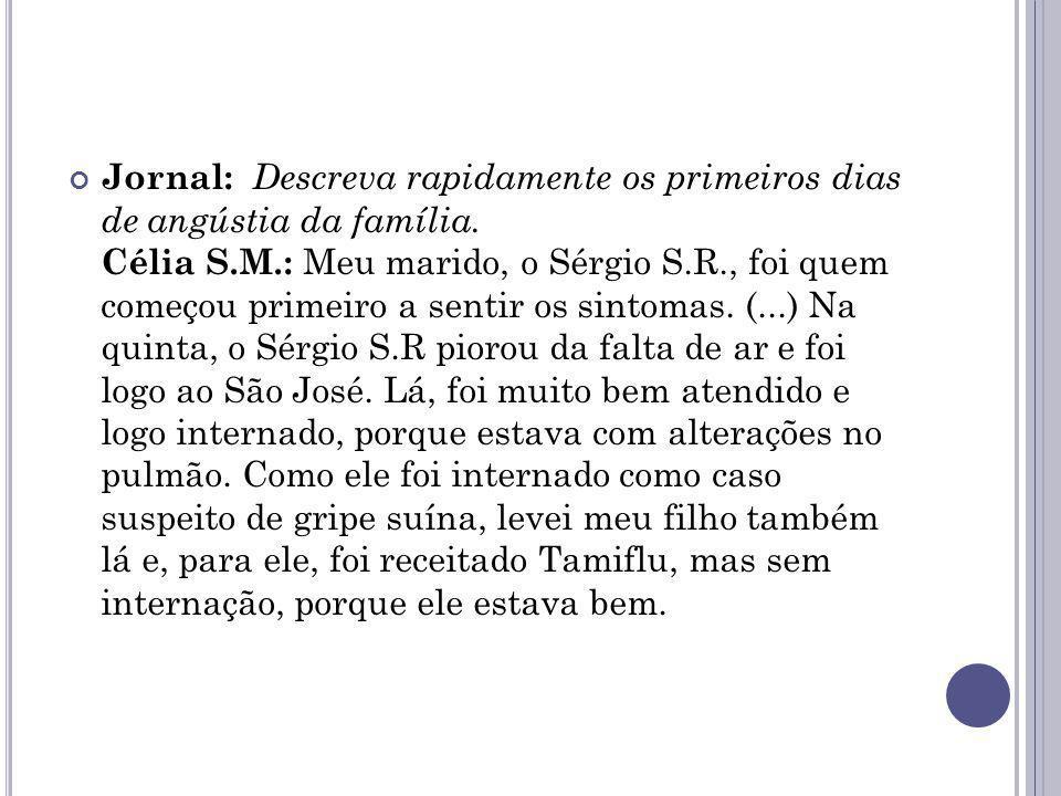 Jornal: Descreva rapidamente os primeiros dias de angústia da família. Célia S.M.: Meu marido, o Sérgio S.R., foi quem começou primeiro a sentir os si