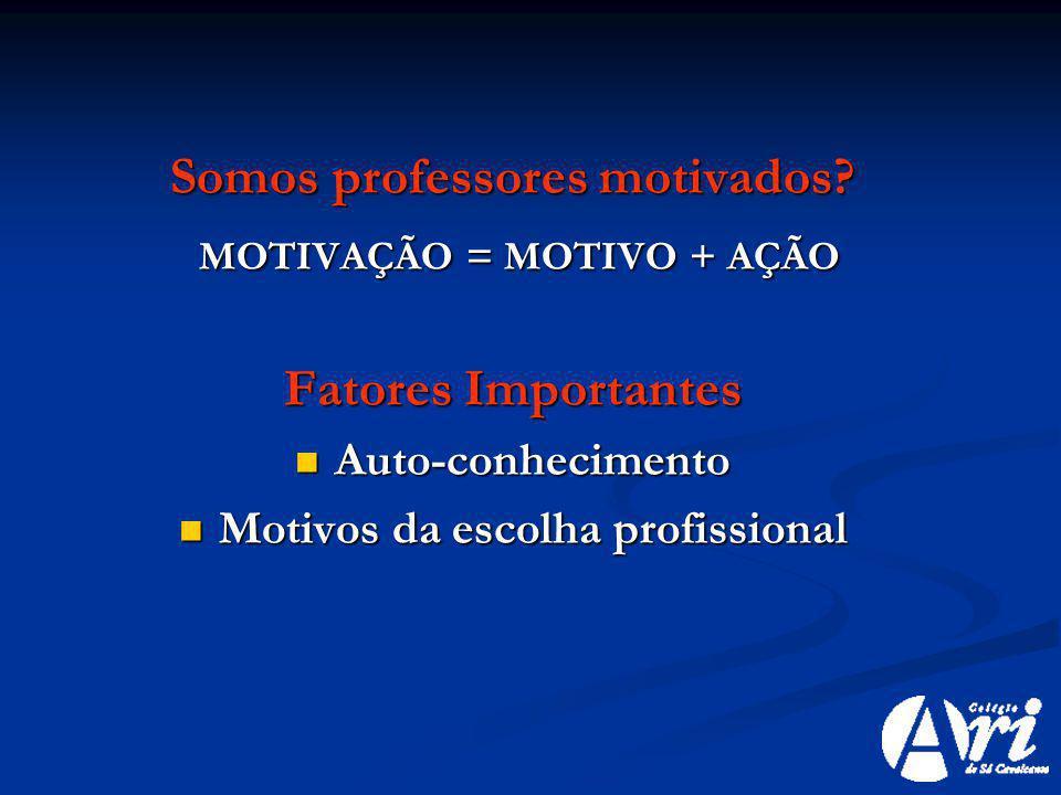 Somos professores motivados? MOTIVAÇÃO = MOTIVO + AÇÃO MOTIVAÇÃO = MOTIVO + AÇÃO Fatores Importantes Auto-conhecimento Auto-conhecimento Motivos da es