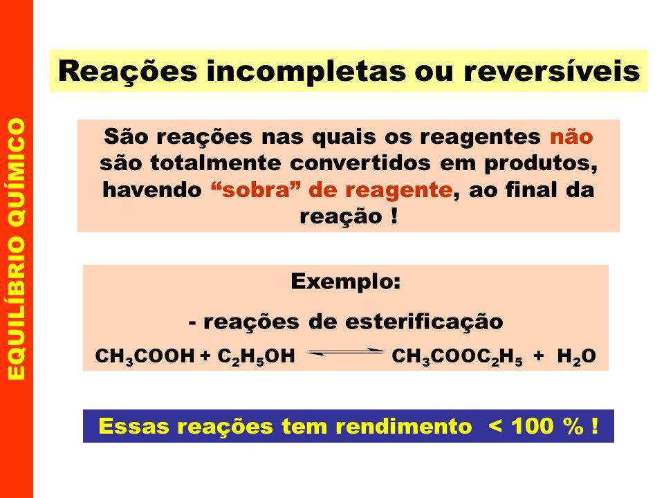 EQUILÍBRIO QUÍMICO Cálculo da constante K c - exemplo O PCl 5 se decompõe, segundo a equação: PCl 5 PCl 3 + Cl 2 Ao iniciar havia 3,0 mols/L de PCl 5 e ao ser alcançado o equilíbrio restou 0,5 mol/L do reagente não transformado.