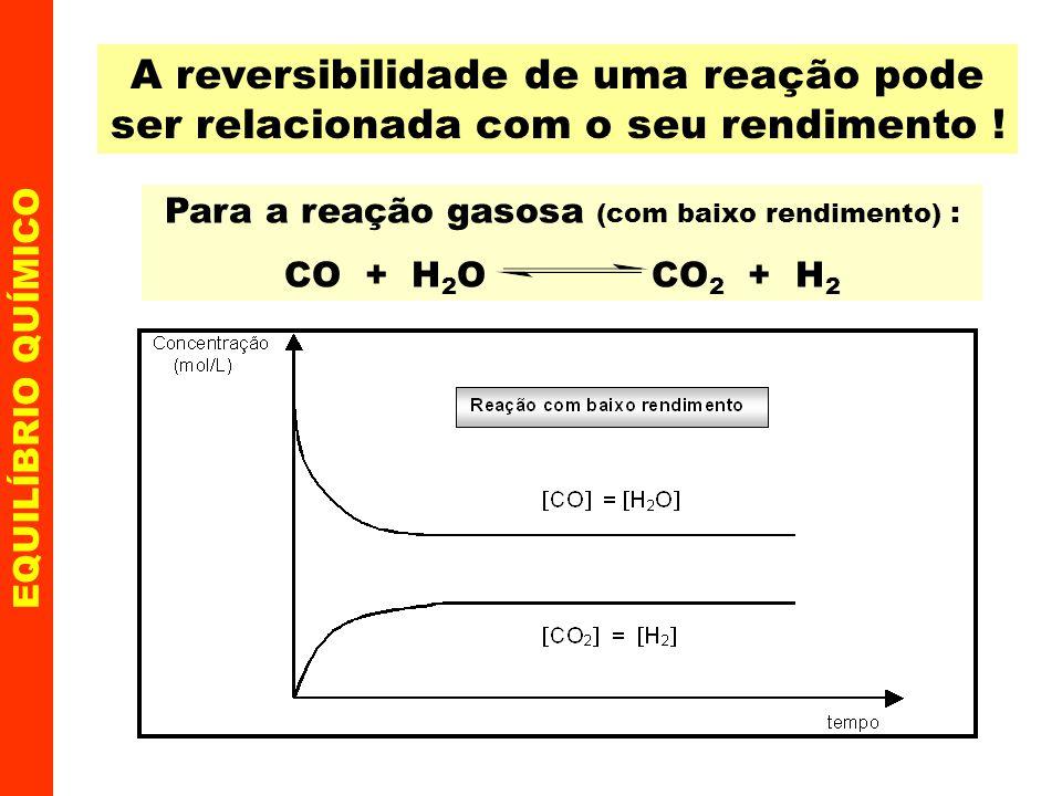 EQUILÍBRIO QUÍMICO Equilíbrios em reações heterogêneas Há certas reações, nas quais se estabelece equilíbrio, em que reagentes e/ou produtos encontram-se em estados físicos distintos, como por exemplo: I - CaCO 3(s) CaO (s) + CO 2(g) II - NH 4 Cl (s) NH 3(g) + HCl (g) Nesses casos, como a concentração dos componentes sólidos não variam, as constantes não incluem tais componentes.