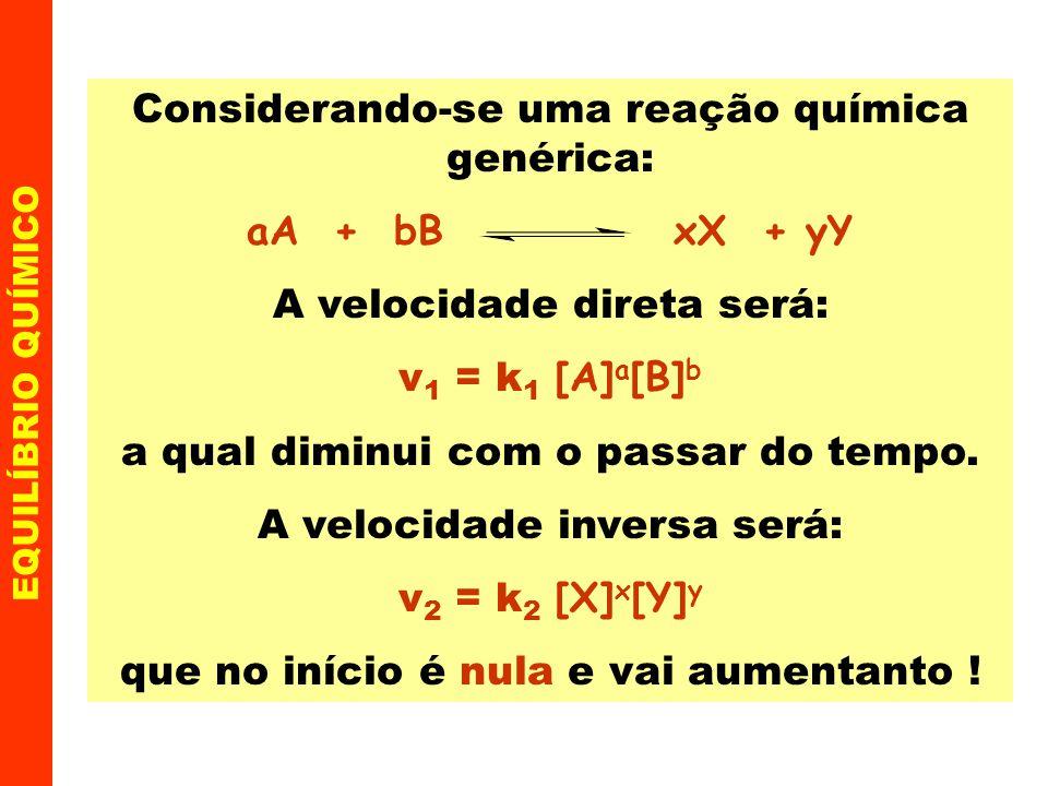 EQUILÍBRIO QUÍMICO 1 - Influência das variações nas concentrações Exemplo Na reação de síntese da amônia N 2(g) + 3 H 2(g) 2 NH 3(g) I - adicionando N 2 ou H 2 o equilíbrio desloca-se no sentido de formar NH 3 ( ) ; II - removendo-se NH 3 o equilíbrio desloca-se no sentido de regenerá-la ( ).