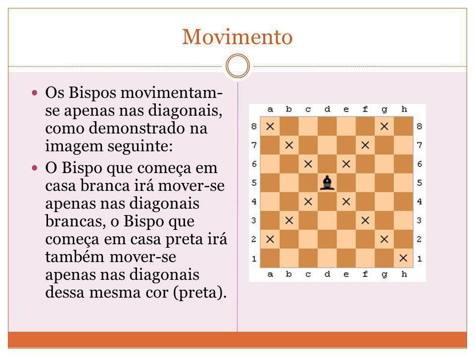 Bispo Os Bispos, na posição inicial das peças, encontram-se colocados ao lado do Rei e da Dama, possuindo cada jogador 2 Bispos no início de cada part