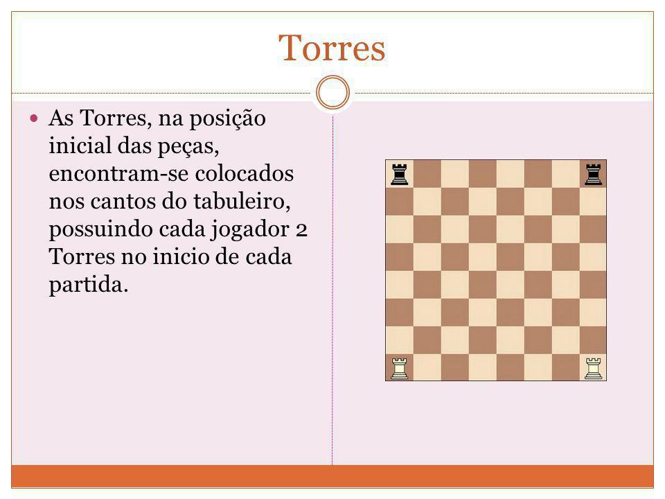 Torres As Torres, na posição inicial das peças, encontram-se colocados nos cantos do tabuleiro, possuindo cada jogador 2 Torres no inicio de cada partida.