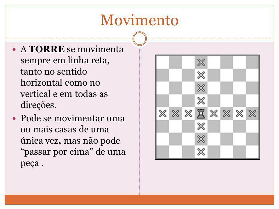 Movimento A TORRE se movimenta sempre em linha reta, tanto no sentido horizontal como no vertical e em todas as direções.