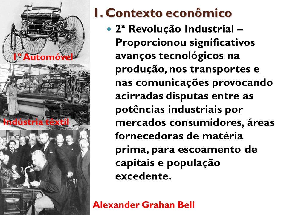 1. Contexto econômico 2ª Revolução Industrial – Proporcionou significativos avanços tecnológicos na produção, nos transportes e nas comunicações provo