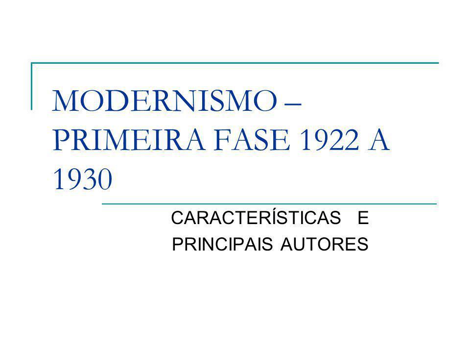 MODERNISMO – PRIMEIRA FASE 1922 A 1930 CARACTERÍSTICAS E PRINCIPAIS AUTORES