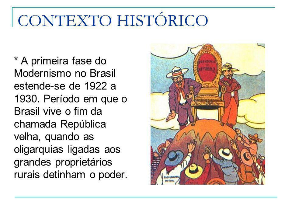 CONTEXTO HISTÓRICO * A primeira fase do Modernismo no Brasil estende-se de 1922 a 1930. Período em que o Brasil vive o fim da chamada República velha,
